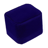 Velveteen Single Ring Box with Glue Film Rectangle blue 51x59x48mm 30PCs/Lot
