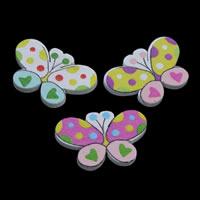 Древесина кабошоны, деревянный, бабочка, Печать & плоской задней панелью, разноцветный, 30x20x3mm, 500ПК/сумка, продается сумка