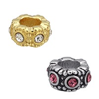 Rhinestone European Beads, Stainless Steel, Rondelle, plated, without troll & with rhinestone, more colors for choice, 10x5.50mm, Hole:Approx 5mm, 10PCs/Lot, Sold By Lot