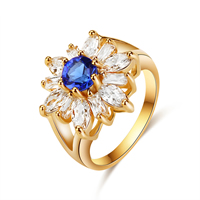 Zinc Alloy Finger Ring, Flower, gold color plated, different size for choice & with cubic zirconia, nickel, lead & cadmium free, 18mm, 5PCs/Lot, Sold By Lot