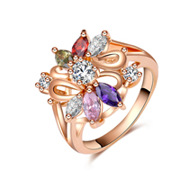 Zinc Alloy Finger Ring, Flower, rose gold color plated, different size for choice & with cubic zirconia, nickel, lead & cadmium free, 19x17mm, 5PCs/Lot, Sold By Lot