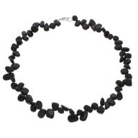 Черный агат Ожерелье, латунь Замок-карабин, натуральный, 8x4mm-15x12x6mm, Продан через Приблизительно 18 дюймовый Strand
