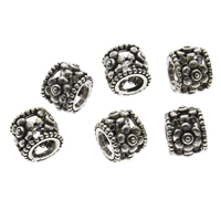 925 Sterling Silver European Beads, Column, hollow & blacken, 8x7mm, Hole:Approx 5mm, 10PCs/Bag, Sold By Bag