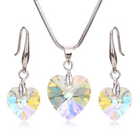 Crystal Jewelry Sets, earring & necklace, Zinc Alloy, with Crystal, brass earring hook, Heart, platinum color plated, snake chain & faceted, nickel, lead & cadmium free, 14x18mm, 10x27mm, Length:Approx 18 Inch, 3Sets/Lot, Sold By Lot