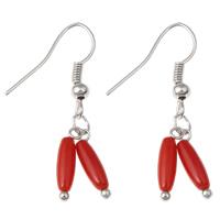 Натуральный коралл Сережка, железо крюк, Платиновое покрытие платиновым цвет, природный, красный, 7x32mm, 10Пары/сумка, продается сумка