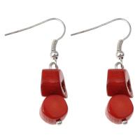 Натуральный коралл Сережка, железо крюк, Платиновое покрытие платиновым цвет, природный, красный, 10x38mm, 10Пары/сумка, продается сумка