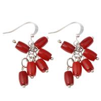 Натуральный коралл Сережка, железо крюк, Платиновое покрытие платиновым цвет, природный, красный, 17x42mm, 10Пары/сумка, продается сумка