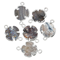 Druzy Connector, Brass, with Ice Quartz Agate, Cross, silver color plated, natural & druzy style & 1/1 loop, nickel, lead & cadmium free, 30x20x5mm, Hole:Approx 3mm, 10PCs/Lot, Sold By Lot