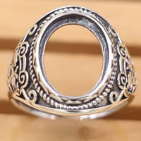 Thailand Sterling Silver Bezel Ring Base adjustable 18mm Inner Diameter:Approx 10.5x13.5mm US Ring Size:7 3PCs/Bag
