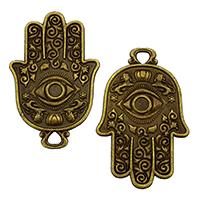 Evil Eye Pendants, Zinc Alloy, Evil Eye Hamsa, antique bronze color plated, Islamic jewelry, nickel, lead & cadmium free, 48x31x2mm, Hole:Approx 4mm, 100PCs/Bag, Sold By Bag