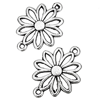 Flower Zinc Alloy Connector, antique silver color plated, 1/1 loop & hollow, nickel, lead & cadmium free, 25x19x1.50mm, Hole:Approx 2mm, 1000PCs/Bag, Sold By Bag
