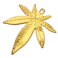 Zinc Alloy Leaf Pendants, Marijuana Leaf, gold color plated, nickel, lead & cadmium free, 34x39x2mm, Hole:Approx 2mm, 200PCs/Bag, Sold By Bag
