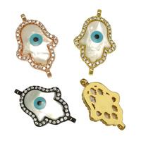 Evil Eye Connector, Brass, with White Shell, Evil Eye Hamsa, plated, natural & Islamic jewelry & micro pave cubic zirconia & enamel & 1/1 loop, more colors for choice, nickel, lead & cadmium free, 14x22.50x3mm, Hole:Approx 1.5mm, 10PCs/Lot, Sold By Lot