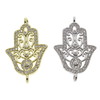 Brass Connector Hamsa plated Islamic jewelry   micro pave cubic zirconia   1/1 loop nickel lead   cadmium free 26x16x3mm Hole:Approx 1mm 10PCs/Bag