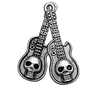 Zinc Alloy Pendant Rhinestone Setting Guitar antique silver color plated with skull pattern nickel lead   cadmium free 11x32x4mm Hole:Approx 1mm Inner Diameter:Approx 1mm 500PCs/Lot