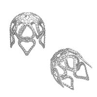 Ruostumaton teräs Helmet lippis, ontto, alkuperäinen väri, 8.50x10x8.50mm, Reikä:N. 1mm, 1000PC/erä, Myymät erä