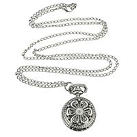 Модная Смотреть ожерелье, цинковый сплав, с железный цепи & Стеклянный, Форма цветка, Платиновое покрытие платиновым цвет, Овальный цепь, не содержит никель, свинец, 27mm, Продан через Приблизительно 15.7 дюймовый Strand