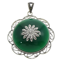 Natural Jade Pendants, Brass, with Green Calcedony, Flower, with rhinestone & blacken, lead & cadmium free, 39x43x9mm, Hole:Approx 4x7mm, Sold By PC