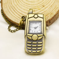 Модная Смотреть ожерелье, цинковый сплав, с железный цепи, Мобильный телефон, Покрытие под бронзу старую, твист овал, не содержит никель, свинец, 40x20mm, Продан через Приблизительно 31 дюймовый Strand