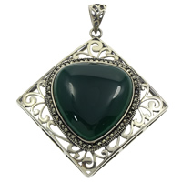Natural Jade Pendants, Brass, with Green Calcedony, Rhombus, with rhinestone & hollow & blacken, lead & cadmium free, 59x63x13mm, Hole:Approx 6x9mm, Sold By PC