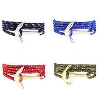 Нейлоновый шнуровой браслет, Нейлоновый шнурок, с цинковый сплав, Якорь, Другое покрытие, Мужская & 5-стренги, Много цветов для выбора, 650-750mm, Продан через Приблизительно 25-29 дюймовый Strand