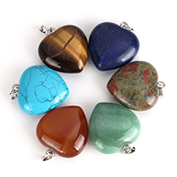 Gemstone Pendants Jewelry with brass bail Heart platinum color plated natural   different materials for choice nickel lead   cadmium free 30x33x13mm Hole:Approx 5x8mm