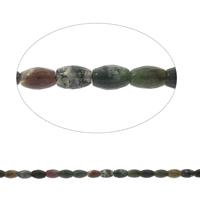 Luonnollinen Moss akaatti helmet, Soikea, kasvot, 8x12mm, Reikä:N. 1mm, Pituus:N. 14.5 tuuma, 5säikeet/laukku, N. 32PC/Strand, Myymät laukku