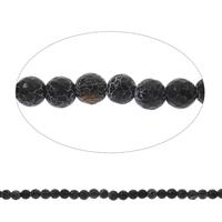 Natuurlijke Effloresce Agaat kralen, Ronde, gefacetteerde, zwart, 8mm, Gat:Ca 1mm, Lengte:Ca 14.5 inch, 5strengen/Bag, Ca 47pC's/Strand, Verkocht door Bag