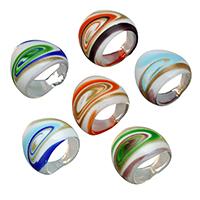 кольцо Лампворк, Лэмпворк, Женский & золотой песок, Много цветов для выбора, 24.50x5.50mm, размер:8, 10Сумки/Лот, 6ПК/сумка, продается Лот