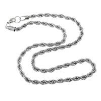 Łańcuch Lina ze stali nierdzewnej, Stal nierdzewna, lina łańcucha & dla człowieka, oryginalny kolor, 6mm, długość:około 24 cal, 50nici/wiele, sprzedane przez wiele