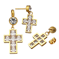 Stainless Steel Jewelry Sets, pendant & earring, Cross, gold color plated, with cubic zirconia & with rhinestone, 17x25x3mm, 40.5mm, 14x22x2.5mm, 29mm, Hole:Approx 5mm, 5Sets/Lot, Sold By Lot
