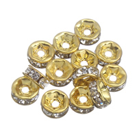 Iron Spacer Bead, Rondelle, gold color plated, with rhinestone, lead & cadmium free, 6x3mm, Hole:Approx 1mm, 100PCs/Bag, Sold By Bag