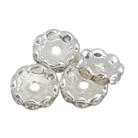 Iron Spacer Bead, silver color plated, with rhinestone, lead & cadmium free, 12x4mm, Hole:Approx 1mm, 100PCs/Bag, Sold By Bag