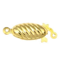 Brass Fishhook Clasp, gold color plated, single-strand, nickel, lead & cadmium free, 23x9x5mm, Hole:Approx 1mm, 10PCs/Bag, Sold By Bag