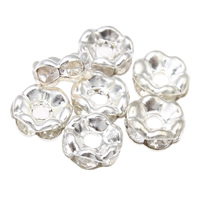 Iron Spacer Bead, silver color plated, with rhinestone, lead & cadmium free, 6x3mm, Hole:Approx 1mm, 100PCs/Bag, Sold By Bag