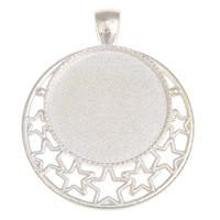 Zinc Alloy Pendant Cabochon Setting, Flat Round, silver color plated, lead & cadmium free, Hole:Approx 4x6mm, Inner Diameter:Approx 25mm, Approx 150PCs/KG, Sold By KG