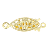 Brass Fishhook Clasp, gold color plated, single-strand & hollow, nickel, lead & cadmium free, 20x7x3mm, Hole:Approx 1mm, 10PCs/Bag, Sold By Bag