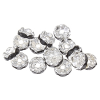 Iron Spacer Bead, silver color plated, with rhinestone, lead & cadmium free, 7x4mm, Hole:Approx 1.5mm, 100PCs/Bag, Sold By Bag