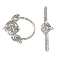 Zinc Alloy Toggle Clasp, Flower, platinum color plated, lead & cadmium free, 16x16.5x4mm, 6x26x3mm, Hole:Approx 2mm, 10Set/Bag, Sold By Bag