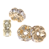 Iron Spacer Bead, gold color plated, with rhinestone, lead & cadmium free, 7x3mm, Hole:Approx 1mm, 100PCs/Bag, Sold By Bag