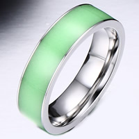кольцо с эмалью настроения , нержавеющая сталь, с Силикон, разный размер для выбора & Женский & блестящий в ночи, 4mm, продается PC