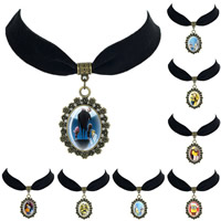 Time Gem Jewelry Necklace, Velveteen, with Paper & Glass & Zinc Alloy, with 2lnch extender chain, Flat Oval, plated, different designs for choice & for woman, 30x35mm, Length:Approx 12.5 Inch, 10Strands/Lot, Sold By Lot