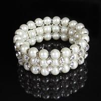 Свадебный браслет, ABS пластик жемчужина, с цинковый сплав, Платиновое покрытие платиновым цвет, Для Bridal & со стразами, 25mm, Продан через Приблизительно 7 дюймовый Strand
