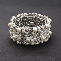 Свадебный браслет, цинковый сплав, с ABS пластик жемчужина, Платиновое покрытие платиновым цвет, Для Bridal & со стразами, не содержит свинец и кадмий, 31mm, Продан через Приблизительно 6 дюймовый Strand