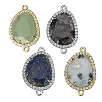 Gemstone Connector, Brass, with Gemstone, Flat Oval, plated, natural & different materials for choice & micro pave cubic zirconia & faceted & 1/1 loop, nickel, lead & cadmium free, 15.50x25x3mm, Hole:Approx 1.5mm, 5PCs/Lot, Sold By Lot