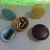 пластик Контактные линзы Case, с Стеклянный, торт, с письмо узором, разноцветный, 50mm, 5ПК/сумка, продается сумка