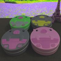 пластик Контактные линзы Case, с Стеклянный, Животное, с письмо узором, разноцветный, 80x68x22mm, 5ПК/сумка, продается сумка