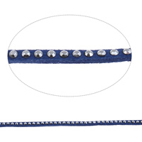 Velveteen Cord with Rhinestone blue 3x2mm 20m/Bag