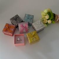 Tektura Pojedyncze pudełko na pierścionek, ze Gąbka & Migocząca wstążka, Kwadrat, mieszane kolory, 50x50x38mm, 48komputery/wiele, sprzedane przez wiele