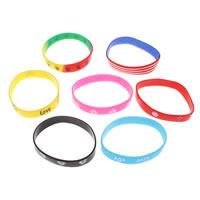 Силиконовые браслеты, Силикон, различные модели для выбора, 12x1mm, длина:Приблизительно 7 дюймовый, 100пряди/сумка, продается сумка